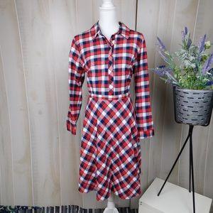 Eloquii Red Plaid Flannel Shirt Dress